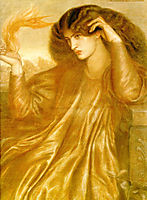 La Donna della Fiamma, The Lady of the Flame, 1870, rossetti