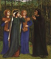 The Meeting of Dante and Beatrice in Paradise, 1853-1854, rossetti