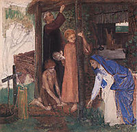 The Passover in the Holy Family: Gathering Bitter Herbs, 1855-1856, rossetti