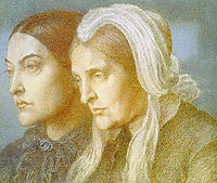 Portrait of the artist`s sister Christina and mother Frances, 1877, rossetti