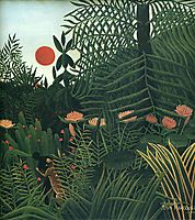 Negro Attacked by a Jaguar. , 1910, rousseau