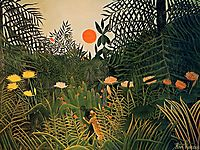 Negro Attacked by a Jaguar, 1910, rousseau