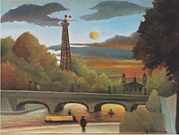 Seine and Eiffel tower in the sunset, 1910, rousseau
