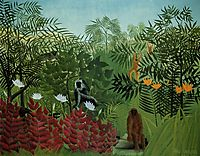 Tropical Forest with Apes and Snake, 1910, rousseau