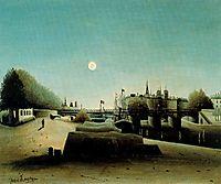 A View of the Ile Saint Louis from Port Saint Nicolas Evening , c.1888, rousseau