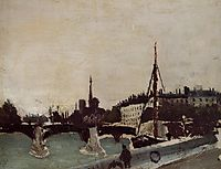 View of the Ile Saint Louis from the Quai Henri IV Study, 1909, rousseau