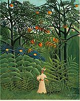 Woman walking in an exotic forest, 1910, rousseau