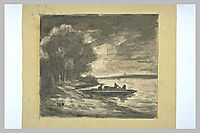 Boat near a shore lined with trees, rousseautheodore