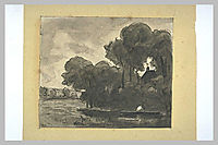 Boat on a river lined with trees, rousseautheodore