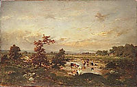 Cows in the mare, 1855, rousseautheodore