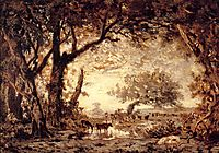 Edge of the Forest at Fontainebleau, Setting Sun, 1850, rousseautheodore