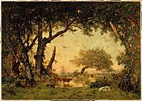 Exit drill Fontainebleau, sunset, 1849, rousseautheodore