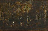 Inside the forest grove at Vieux Dormoir du Bas-Bréau (Fontainebleau forest), 1867, rousseautheodore