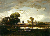 The Pool with a Stormy Sky, 1867, rousseautheodore