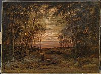 Sunset in the forest, 1866, rousseautheodore