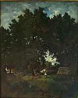 Village under the trees, rousseautheodore