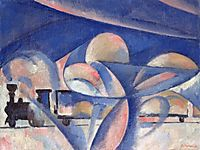 The Composition with the Train, 1910, rozanova