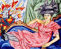 Lady in pink (Artist-s sister Anna Rozanova), rozanova
