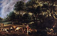 Landscape with Cows and Wildfowlers, c.1630, rubens
