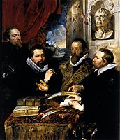 Selfportrait with brother Philipp, Justus Lipsius and another scholar, 1611, rubens