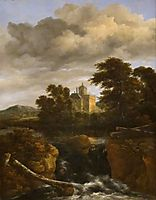 Landscape with a Waterfall and Castle, 1670, ruisdael