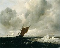 Stormy Sea with Sailing Vessels, 1668, ruisdael