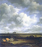 View of Haarlem with bleaching fields in the foreground, 1670, ruisdael
