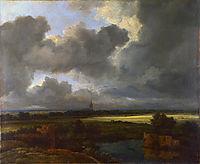 Weite Landschaft mit zerstörten Befestigungsanlagen und einer Kirche im Hintergrund, ruisdael