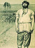 Mikula Selyaninovich. Illustration for the book , 1895, ryabushkin