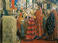 Russian Women of the XVII century in Church, 1899, ryabushkin