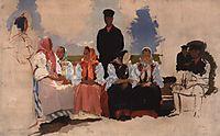 Sunday in the village, 1892, ryabushkin