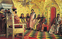Tzar Mikhail Fedorovich Holding Council with the Boyars in His Royal Chamber, 1883, ryabushkin