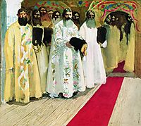 Waiting for the Tzar. Sketch for an unrealized painting, 1901, ryabushkin