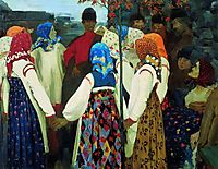 A Young Man Breaking into the Girls Dance, and the Old Women are in Panic, 1902, ryabushkin