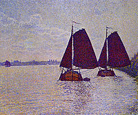 Barges on the River Scheldt, 1892, rysselberghe