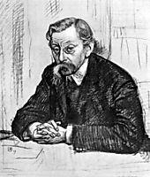 Pencil drawing of Belgian poet Émile Verhaeren, 1915, rysselberghe