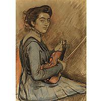 Renee Druet with violin, 1910, rysselberghe