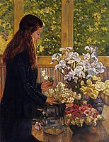 Young Girl with a Vase of Flowers, rysselberghe