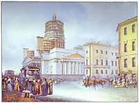 Departure of an Omnibus from St. Isaac-s Square in St. Petersburg, 1841, sadovnikov
