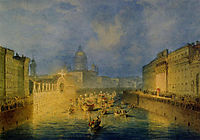 Illumination on the Moika Embankment in St. Petersburg, 1856, sadovnikov