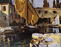 Boat with The Golden Sail, San Vigilio, 1913, sargent