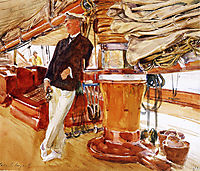 Captain Herbert M. Sears on deck of the Schooner Yacht Constellation, 1924, sargent
