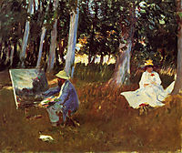 Claude Monet Painting by the Edge of a Wood, 1885, sargent