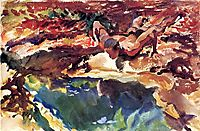 Figure and Pool, 1917, sargent