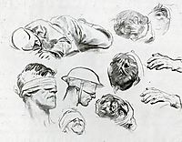 Heads, Hands, and Figure (also known as Studies for Gassed), 1918, sargent