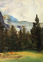 Purtud Fir Trees and Snow Mountains, sargent