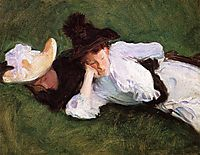 Two Girls Lying on the Grass, 1889, sargent