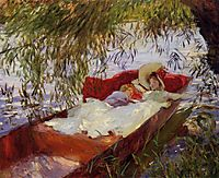 Two Women Asleep in a Punt under the Willows, 1887, sargent