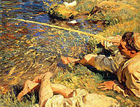 Val d-Aosta: Man Fishing, 1907, sargent