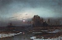 Autumn Landscape with a swampy river in the moonlight, 1871, savrasov